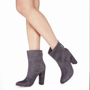 Zakra gray vegan suede block heel ankle bootie